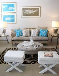 Beige sofa, blue and white accents