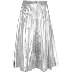 Gucci Sliver pleated leather midi skirt ($2,255) ❤ liked on Polyvore featuring skirts, mid calf skirts, leather skirt, white pleated skirt, calf length skirts and real leather skirt