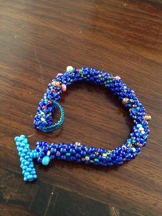 Bead crocheted bracelet, beadweaving