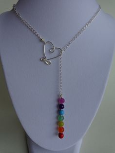 Seven Chakras Lariat Necklace Gemstones by IrisJewelryCreations Use Swarovski crystals instead!