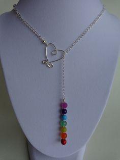 Seven Chakras Lariat Necklace Gemstones by IrisJewelryCreations