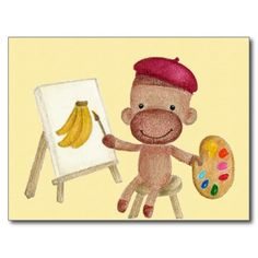 A Little Artist Socky the Sock Monkey Postcard
