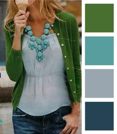 Hunter green, gray, and sky blue.   I'm using the top three colors as inspiration in our bedroom.