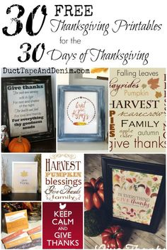 30 FREE Thanksgiving printables for the 30 Days of Thanksgiving   DuctTapeAndDenim.com