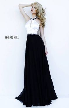 SHERRI HILL Prom Dresses 2015 # 32185 Satin keyhole bodice is line at the  neck and