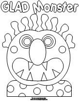 Emotions; Coloring Pages for Book, Glad Monster Sad Monster by Ed Emberley