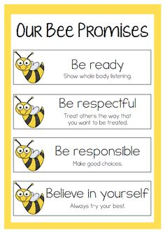 Our Bee Promises - Freebie Classroom Setup, Classroom Design, Classroom Displays, Kindergarten Classroom, Future Classroom, Classroom Organization, Classroom Management, Elementary Classroom Rules, Classroom Promise