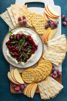 Cranberry Cream Cheese Dip - My Baking Addiction Cranberry Cream Cheese Dip, Cream Cheese Dips, Cranberry Bars, Cranberry Orange Muffins, Cranberry Cookies, Pumpkin Dip, Homemade Dinner Rolls, White Chocolate Cookies, Custard Recipes
