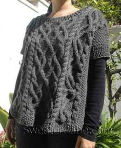#146 Cable-y Goodness Poncho Sweater PDF Knitting Pattern #knitting #SweaterBabe.com