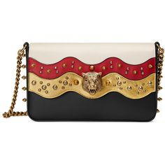 Gucci Studded Leather Chain Shoulder Bag (28,600 MXN) ❤ liked on Polyvore featuring bags, handbags, shoulder bags, gucci, clutches, leather purses, shoulder handbags, leather shoulder handbags, genuine leather shoulder bag and genuine leather handbags