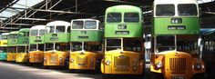 An impressive collection of vintage buses. Retro Bus, Glasgow City, Cab Over, Cool Campers, Bus Coach, Busses, New Trucks, Commercial Vehicle, Coaches