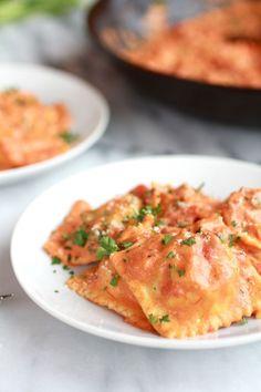 Lobster Ravioli with Tomato Cream Sauce