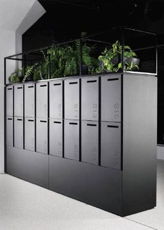 Raised lockers for better access - plants used to bring designs to life Corporate Interiors, Office Interiors, Bureau Open Space, Office Lockers, Office Mailboxes, Garderobe Design, Accor Hotel, Locker Designs, Bar Designs
