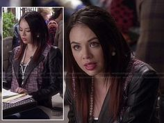 Mona's tweed jacket with black leather sleeves on Pretty Little Liars.  Outfit Details: http://wornontv.net/16970/ #PrettyLittleLiars