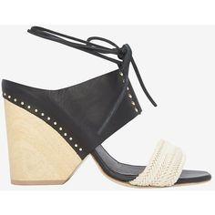 Thakoon Wooden Heel/Raffia/Leather Sandal ($595) ❤ liked on Polyvore