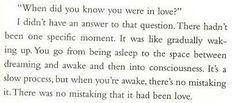 When did you know you were in love?