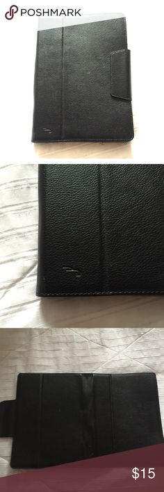 """Black Leather iPad Tablet Case, Stand, Holder 📱 *Cover Pic is example not actual item  Preloved in excellent condition 2 white scuff marks but not noticeable + easily removable  Black Leather Case with magnetic tab closure Compatible with most tablets for a precise fit. Provides strength and durability. 4 Elastic corners Securely hold your device in place. Convertible design Enables use as a kickstand for hands-free media viewing. Holder for stylus pen  Case Total (1 Side) Size: 7"""" x 10""""…"""