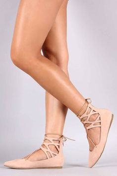Liliana Suede Caged Cuff Lace Up Pointy Toe Ballet Flat at Pointy toe caged design cuff with up detail, lightly padded insole. Ballet Flats, Lace Up, Heels, Women Sandals, Shopping, Silhouette, Detail, Design, Products