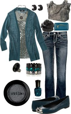 Teal & Silver Outfit.  Sweater, Sequins top, Jeans, Purse & Flats.