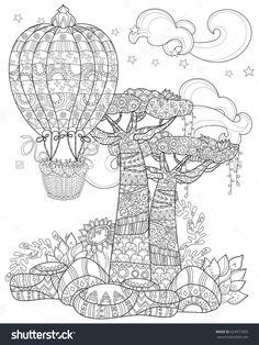 Hot air balloon illustration on Behance Hot Air Balloon Coloring