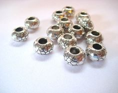 Large Hole #Beads #Silver Pewter Pebble Pattern Lot of 14 by MoomettesCrochet