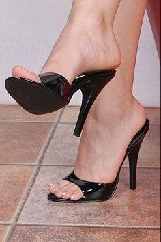 Sexy shiny mules.