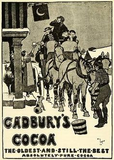 1924 Line Cut Cecil Aldin Cadbury Hot Cocoa Chocolate Horses Stagecoach Inn Art | eBay