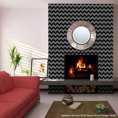 use a chevron wall stencil to jazz up a wall-so much easier than measuring and taping.