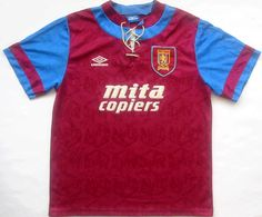 I seem to recall that was a great year for shirts, this being no exception. This was the first year I can recall any sort of retro trend. Nowadays, of course, retro shirts generally reference something I can recall first time around. Classic Football Shirts, Vintage Football Shirts, Retro Shirts, Football Uniforms, Aston Villa, Retro Vintage, Soccer, Mens Tops, Fashion