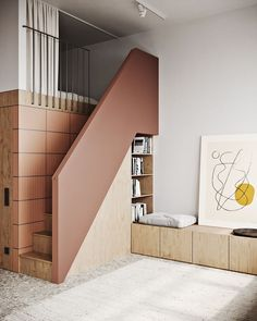 An excellent minimalistic solution for the stairs, which made it possible to make built-in shelves for books with a place for reading. Also love this beautiful poster nearby! Home Interior, Modern Interior, Interior Architecture, Interior Decorating, Nature Architecture, Small Apartments, Small Spaces, Design Scandinavian, Casa Loft