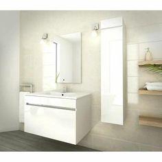LUNA Ensemble salle de bain simple vasque L 80 cm - Blanc vernis - Achat / Vente salle de bain complete LUNA Ensemble salle de bain - Cdiscount