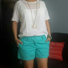 Loft short A beautiful light mystic turquoise short from Ann Taylor Loft with zip fly, button closure,coin pocket front pockets and back welt pockets. 100% cotton. LOFT Other