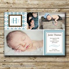 Photo Birth Announcement Card, printable, custom -- ARGYLE Just Precious!