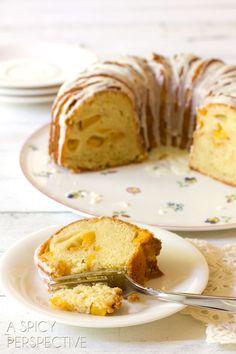 Must-Make Peaches n' Cream Cake on ASpicyPerspective.com #cake #peach #bundtcake #summer #recipe