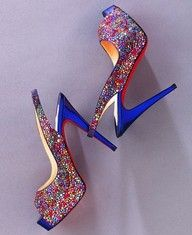 Multi Coloured Glitter Platform Shoes, with Satin Blue Heels.