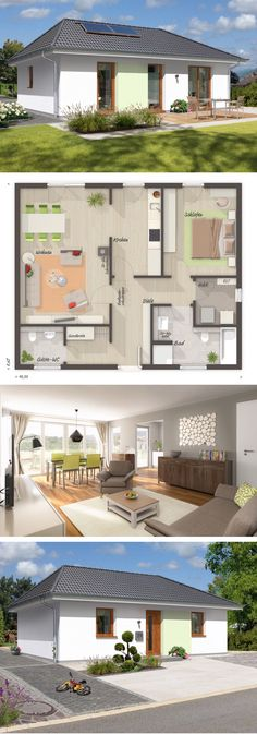"""One Floor House Plans Modern Contemporary European Style Architecture Design """"BUNGALOW 78"""" - Dream Home Ideas with One Story Layout by Town & Country Haus - Arquitecture and Interior with Kitchen Living Room Bathrooms Bedrooms Nursery Kids Entrance Hall Garage and Garden Exterior - Arquitectura moderna casas planos - HausbauDirekt.de #home #house #houseplan #dreamhome #newhome #homedesign #houseideas #housegoals #construction #architecture #architect #arquitectura #hausbaudirekt"""