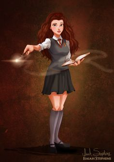 Illustrator Isaiah Stephens created a fun art series featuring several different Disney Princesses as pop culture characters for Halloween.  Belle as Hermione