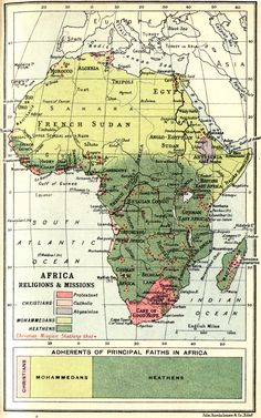 Map of Africa Religions and Missions