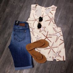 @mavicanada Bermudas @roxy tank @reefgirls flip flops @toms sunglasses Roxy, Stitch Fix, Jean Shorts, Flip Flops, Fashion Outfits, My Style, Clothing, Summer, Bermudas