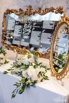 vintage gold baroque mirror wedding seating chart