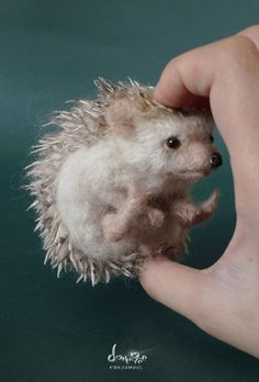Needle Felted  Hedgehog 10 cm long size by dollmofee by dollmofee - I literally thought this was a real hedgehog, except for the way she's holding it. ;)