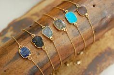 Back in Stock! Whether worn alone or with an arm candy stack, this gold edged nugget bracelet is sure to be noticed. Delicate gold filled chain disappears as the beauty of the gem stone stands out. Choose from 4 gem stones-Turquoise, Blue Chalcedony, Diamond Bracelets, Pandora Bracelets, Pandora Jewelry, Silver Bracelets, Diamond Jewelry, Jewelry Bracelets, Diamond Earrings, Wrap Bracelets, Pandora Charms