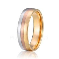 forever love classic tricolor Alliance anel pure titanium wedding band gold color men finger ring