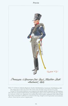 PRUSSIA - 1st Reserve Infantry Regiment, Fusilier (3rd) Battalion, Lieutenant, Field Uniform, 1813