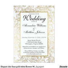 Elegant chic faux gold white flowers Wedding