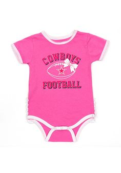 Your future Cowboys fan will look cute in this Dallas Cowboys Baby Pink Grace Creeper! This Cowboys Romper features a screen print with puff ink graphic and fabric ruffles on bottom. Cowboys Gifts, Cowboys Shirt, Cowboy Store, Dallas Cowboys Hats, How Bout Them Cowboys, Cowboy Gear, Opportunity, Rompers, One Piece