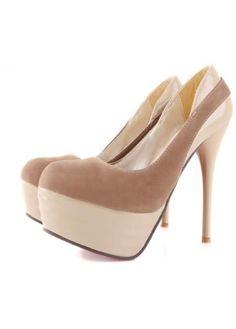 Club A Stiletto Heel Platform Women Dress Shoes Light Coffee Suede