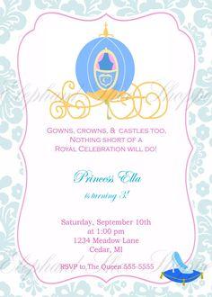 Cinderella Inspired Birthday Invitation by ElephantShoeShoppe, via Etsy.