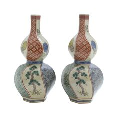 Japanese Vintage Pair of Kutani  九谷焼  Porcelain Sake Bottle of a Gourd