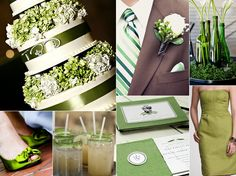 Colors: Green + White (Any color paired with white can make a good wedding theme. This one is more outdoorsy, but depending on how elegant the green is VS how light and fluffy it is will determine the mood)